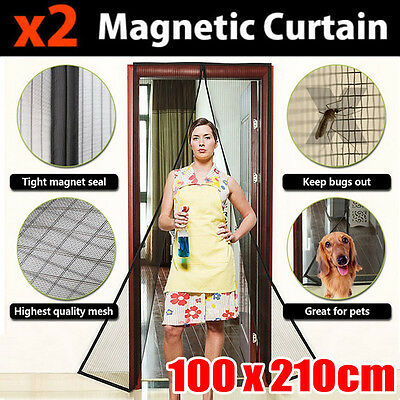 Mesh Magnetic Fly Screen Mosquito Bug Door Curtain Hands Free Black