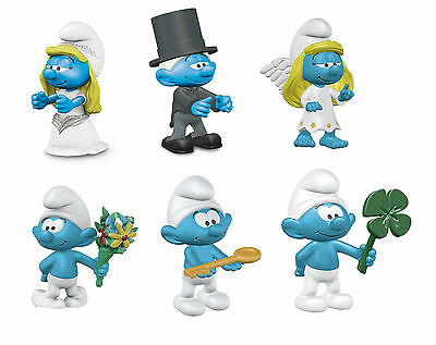 Schleich - 2017 Smurf Lucky Figures. Lot of 6 new Smurfs.