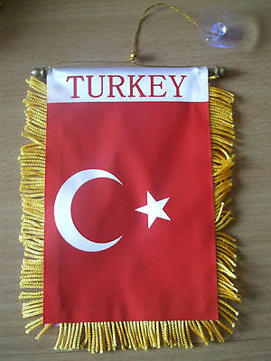 Turkey Flag/Turkish Mini Car banner for your car mirror or window.Great gift.
