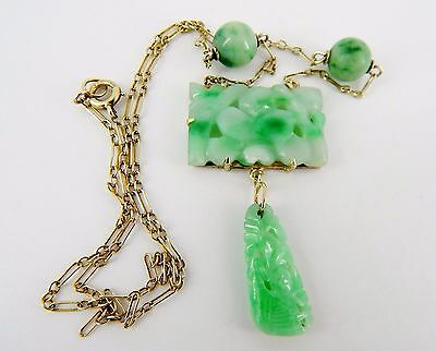 "Antique 16"" 14k Carved Apple Green & Mutton Fat Jade Lavalier Necklace 7.2 Grams"