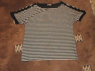 ladies lovely black & grey M&S top with pretty stripes, Ex cond, size 18