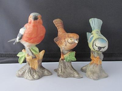 """Set of Three Colourful Nicely Detailed Bisque Birds all approx 13 cm (5"""") tall"""