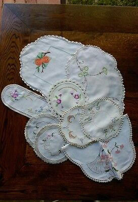 Collectable Vintage Doileys Embroidered Lot 9 Linen-Assorted Sizes  & motifs