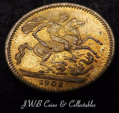 Very Small 1902 Edward VII Model Sovereign Coin By Lauer Toy Money Ref - T/M