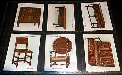 6 Large Wills Cigarette Cards Old Furniture 2Nd Series