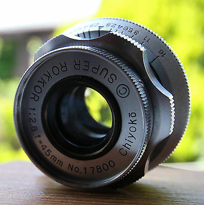 Chiyoko Super Rokkor 45mm F2.8 Lens with Leica 39mm Screw Lens Mount
