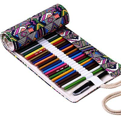 Canvas Pen Roll Up Bag Curtain 36 Holes Pencil Case Stationery Ball Pen Box