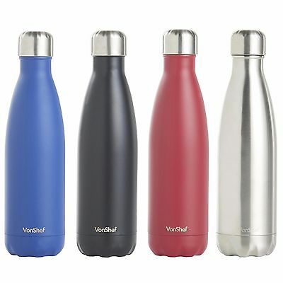 VonShef Double Walled Vacuum Insulated Stainless Steel Water Drinks Sport Bottle