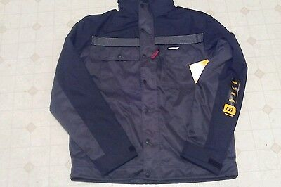 Mens Caterpillar Hooded Work Coat Size Large - Blk/grey (New)