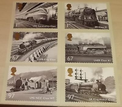 6 postcards of Royal Mail 2010 stamps - Great British Railways - steam locos
