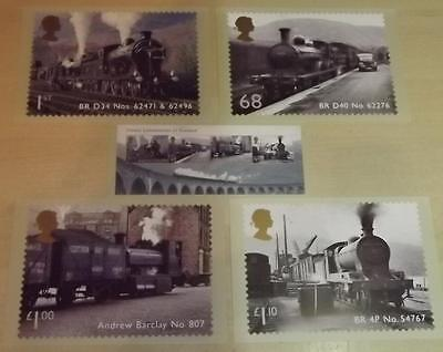 5 postcards of Royal Mail 2012 stamps - Great Scottish Railway Locomotives