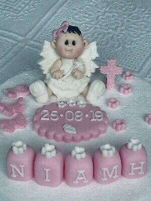 edible baby princess girl fairy cake topper name  plaque christening birthday