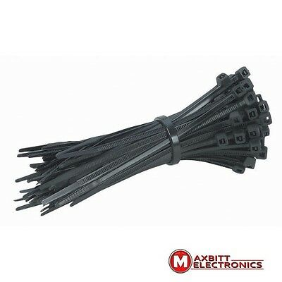 Small Tidy Black Cable Ties Zips Wrap Cable Management 20cm x 3.6mm x100