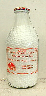 "milk bottle : lovely ""South Yorkshire Building"" advert  Denby Dale : dairy"