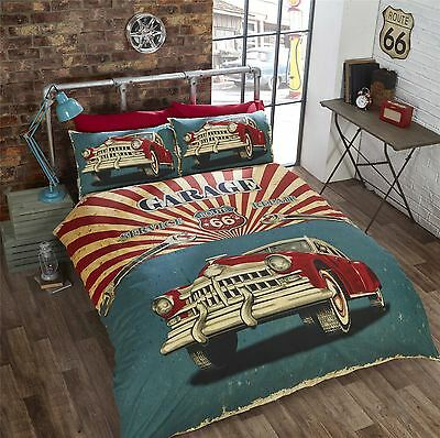 Garage Duvet Cover Retro Cars American Style Bedding Single Double King