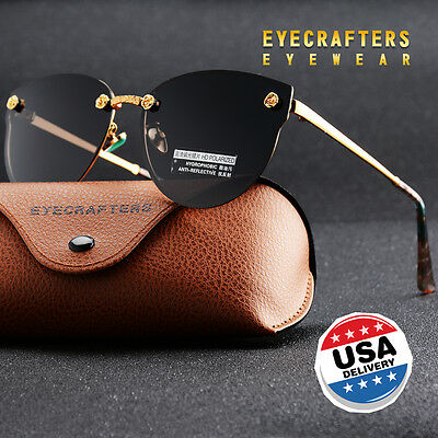 Fashion Womens HD Polarized Sunglasses Retro Oversized Cat Eye Mirrored Eyewear