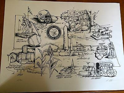 Lithograph Picture Omaha Nebraska Offutt Afb Strategic Command Numbered Signed