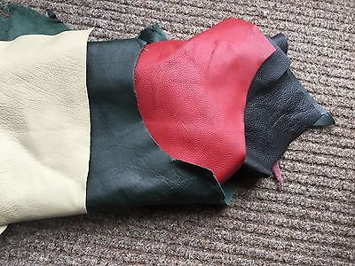 Job lot leather off cuts 14 pieces cow hide well over 1kg green red black cream