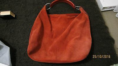 MANZONi RED SUEDE LEATHER HoBo SLOUCH BAG
