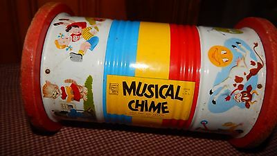 Vintage 1951 Fisher Price Toy Musical Chime Roller Toy Nursery Rhyme GUC
