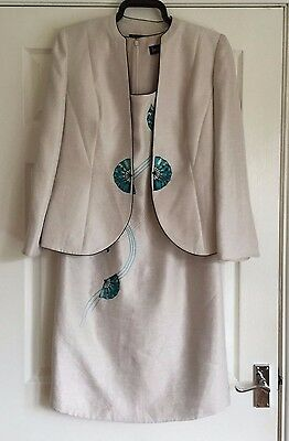Jacques Vert Wedding Suit, Palest Pink Dress and matching Jacket size 12.