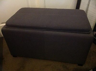New Charcoal Grey Linen Blanket Box With 2 x Foot Stools Poufs
