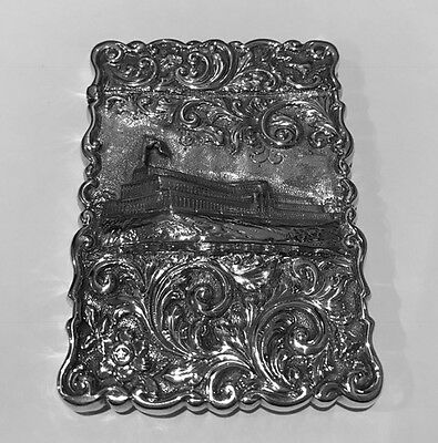 VICTORIAN SILVER CASTLE TOP CARD CASE - BIRMINGHAM 1850 of CRYSTAL PALACE