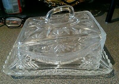 Beautiful vintage Victorian heavy pressed glass cheese dish.