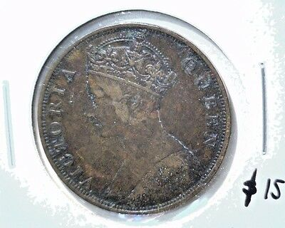 1876 Hong Kong One Cent Coin VF Details Scratches KM#4.1 Victoria