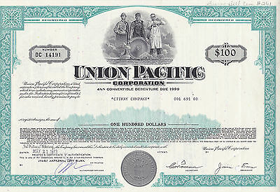 Union Pacific Corporation-4 3/4 % Convertible Debenture due 1999- v.1973-100 $