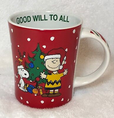 NEW Gibson Peanuts  Christmas Good Will Coffee Mug Cup Charlie Brown Snoopy