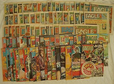 Job lot of 89 Eagle Comics 40 from 1982 & 49 from 1984 Dan Dare etc good overall