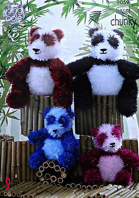 KNITTING PATTERN 2 Sizes Panda Toy Tinsel Yarn KNITTING PATTERN King Cole 9059