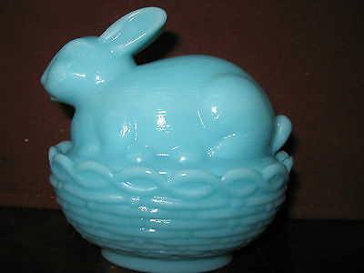 Blue milk glass bunny rabbit on nest basket candy dish easter eggs bonnie opaque