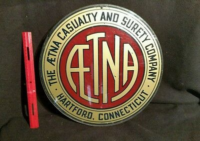 """Vintage Acrylic 15"""" """" The Aetna Casualty & Surety""""  Sign *Hartford, Connecticut*"""