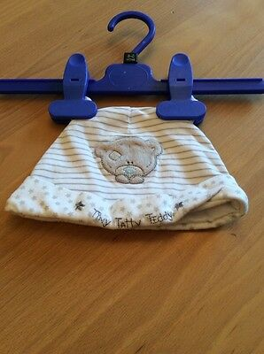 baby boys clothes 3-6 months White Cotton Striped Tiny Tatty Teddy Hat