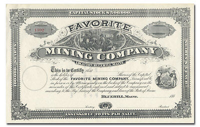 Favorite Mining Company Stock Certificate (Blue Hill, Maine)