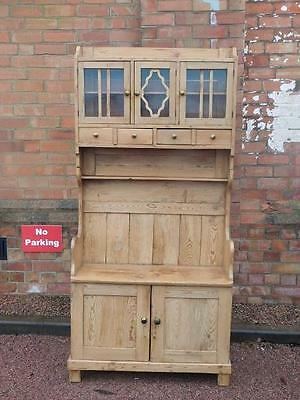 A Good Sized Antique Pine Kitchen Dresser With Integral Settle