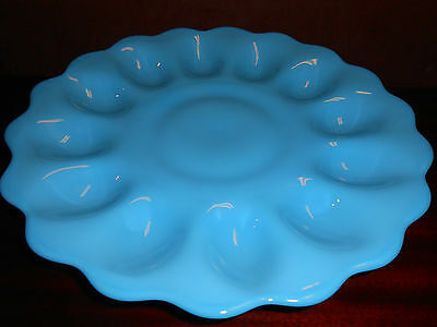 Blue milk glass Deviled Egg serving Plate / Platter tray milk bonnie opaque baby