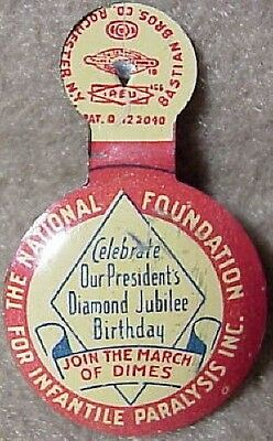 1942 Roosevelt Diamond Jubilee & March of Dimes Infantile Paralysis TAB BUTTON