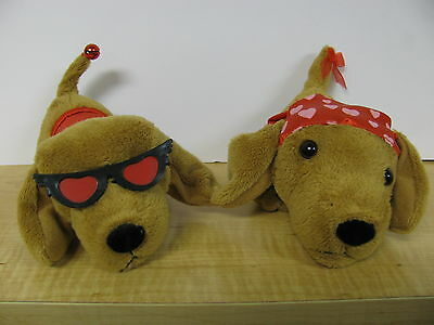 Kissing Dachshund Animated Valentines Day Plush Toy Kisses I Love You Red Hearts