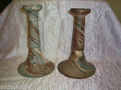 Pair Of Niloak Mission Ware Swirl Tall Candlesticks Candle Holders