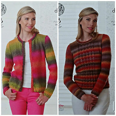 KNITTING PATTERN Ladies Round Neck Lem Hem Cardigan & Jumper DK King Cole 4682