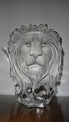Westminster Crystal Large Frosted Glass Lions Head Art Glass Sculpture - New!