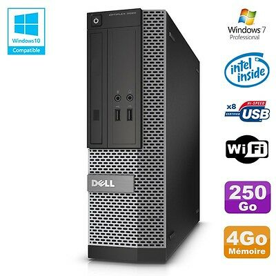 PC Dell Optiplex 3020 SFF Intel G3220 3GHz 4Go Disque 250Go DVD Wifi W7