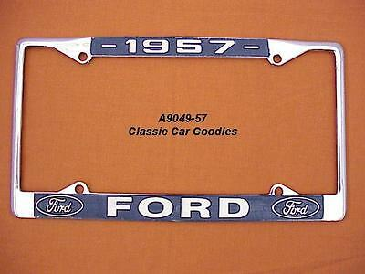 1957 Ford Blue Oval License Plate Frame Chrome. Metal. FREE USPS SHIPPING!