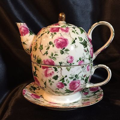 Pink Chintz Tea for One - Teapot, Cup & Saucer 4-pc Set