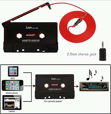 CAR AUDIO TAPE CASSETTE ADAPTER IPHONE IPOD MP3 CD RADIO 3.5mm JACK AUX CABLE