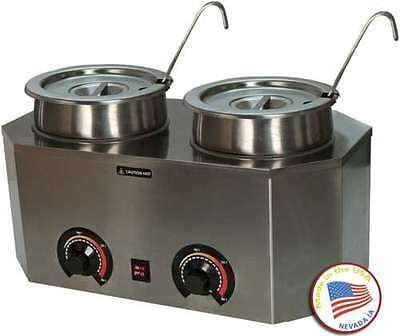 Commercial Dual Ladle Warmer Chili Marinara Fudge Cheese Caramel Stainless Steel