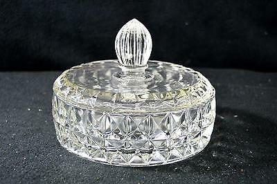 Vintage Jeannette Glass Windsor Diamond Pattern Round Candy Jar/Dish With Lid